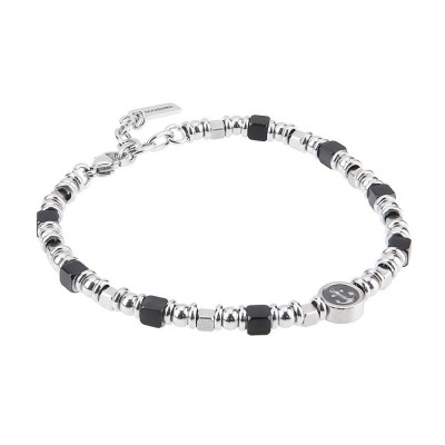 Bracelet with cubes in black PVD rodiati and central and circlare with still