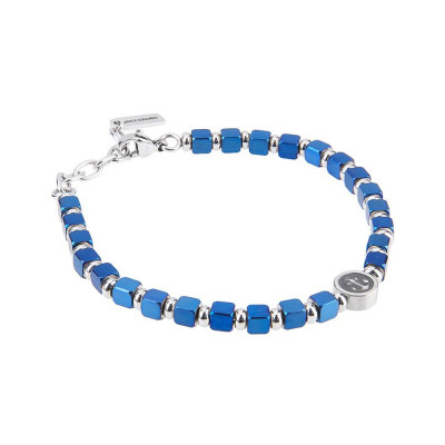 Bracelet with cubes in PVD blue and circular central with still