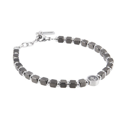 Bracelet with cubes in PVD black and circular central with still