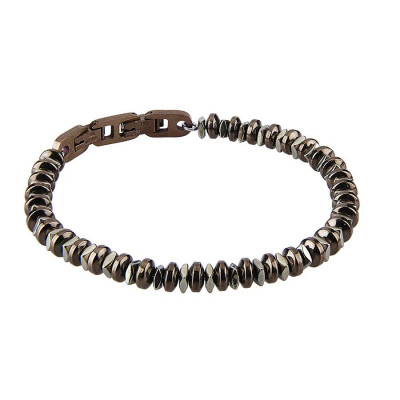 Steel Bracelet with t-shirts in Pvd Brown