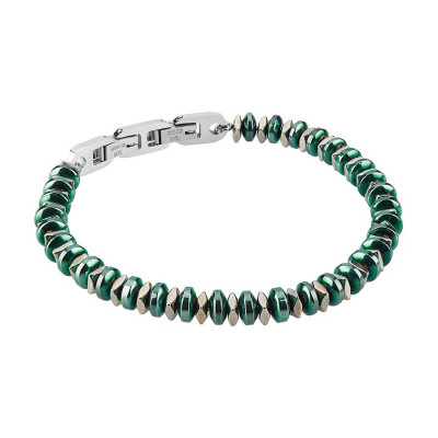 Steel Bracelet with t-shirts in Pvd Green