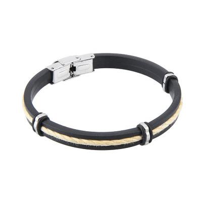 Bracelet in caucciù and lanyard marino white
