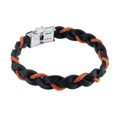 Bracelet Braided leather lanyard marino orange