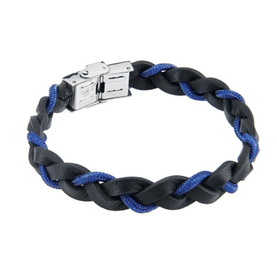 Bracelet to the braid in black leather with lanyard Blue Marine