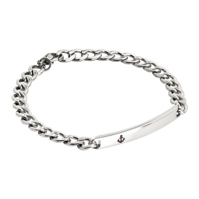 Curb link bracelet with anchor