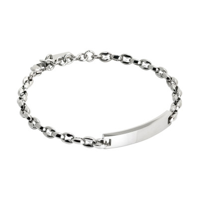 Marine link bracelet with plate