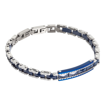 Motorcycle chain bracelet and blue ceramic