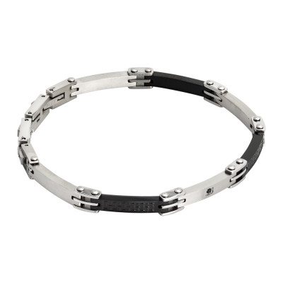 Bracelet with flat modular links, black PVD and zircon