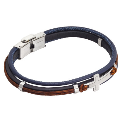 Blue leatherette bracelet and brown marine cord