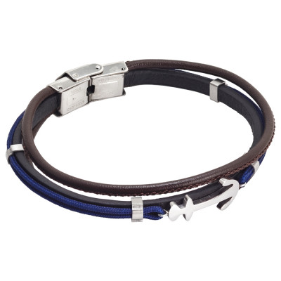 Brown leatherette bracelet, blue marine cord and anchor