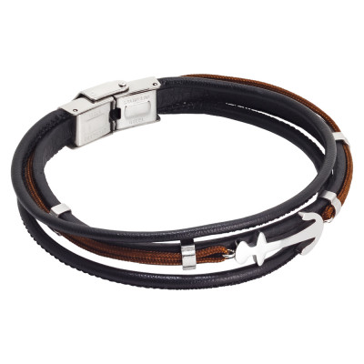 Brown leatherette bracelet, brown marine cord and anchor