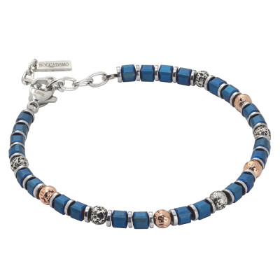 Beads bracelet with blue galvanized hematite and lava stone