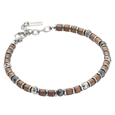 Beads bracelet with brown galvanized hematite and lava stone