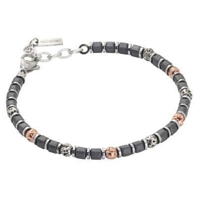 Beads bracelet with black galvanized hematite and lava stone