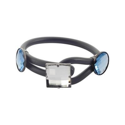 Bracciale in gomma nera con cristalli blu e centrale bianco