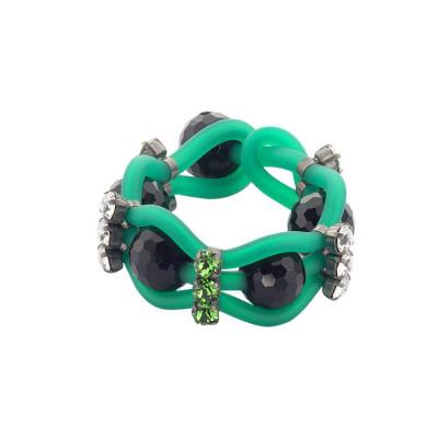 Bracciale in gomma verde intrecciata con cristalli