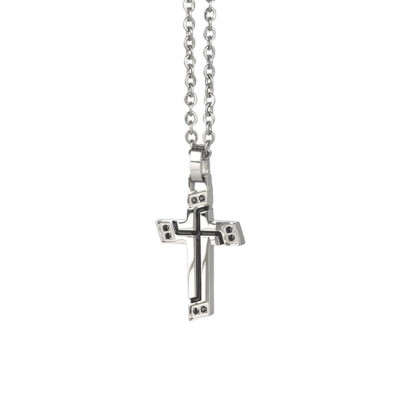 Necklace with crucifix from the inserts of black cubic zirconia