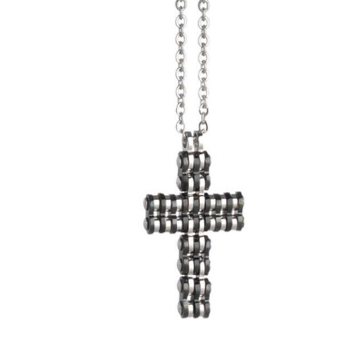 Necklace in steel with crucifix in PVD Black