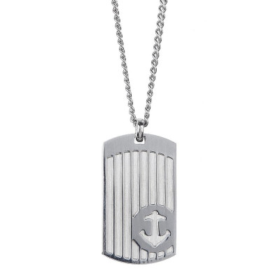 Necklace with steel plate and still in relief