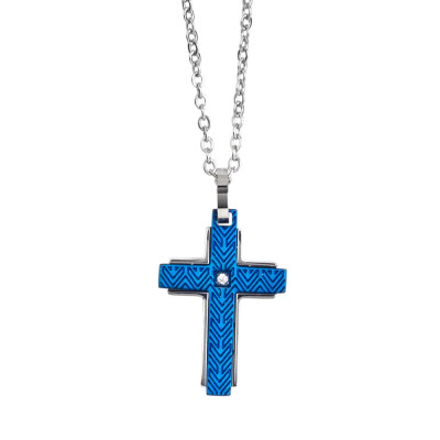Rol necklace with blue Pvd crucifix and white zircon