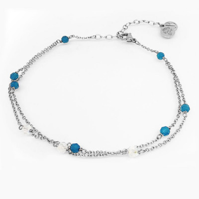 Ankle band double thread with SWAROVSKI carribean blue opal and aurora borealis