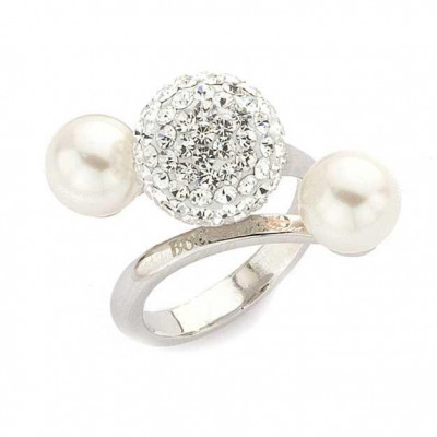 Silver ring with pearls and rhinestones