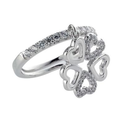 Ring with quadrifoglio composed of hearts