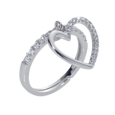 Ring with a pendant in the heart