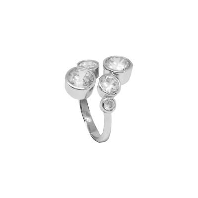 Open Ring with zircons diamond cut