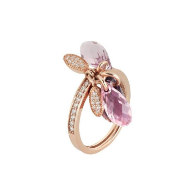 Silver Ring Gold plated pink with sprigs of Swarovski from shades of lilac and zircons