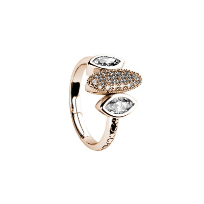 Plated ring pink gold with zircons