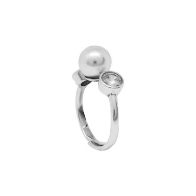 Ring with zircon and Swarovski pearl