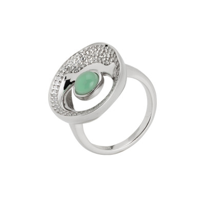 Rhodium ring moon eclipse with water green crystal