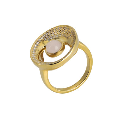 Yellow Gold Plated Moon Eclipse Ring