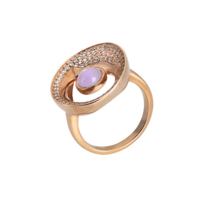 Rose gold plated moon eclipse ring