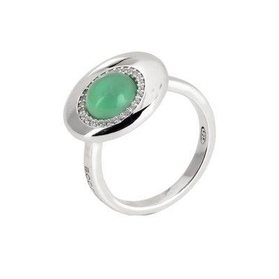 Moon eclipse ring with water green crystal and zircons