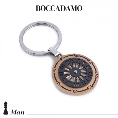 Keychain with sundial in blue and black PVD