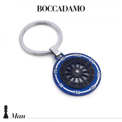 Keychain with sundial in pink and black PVD