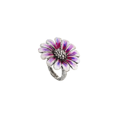 Daisy ring in burnished silver and painted in shades of purple