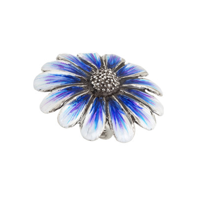 Large daisy ring in burnished silver painted in shades of blue