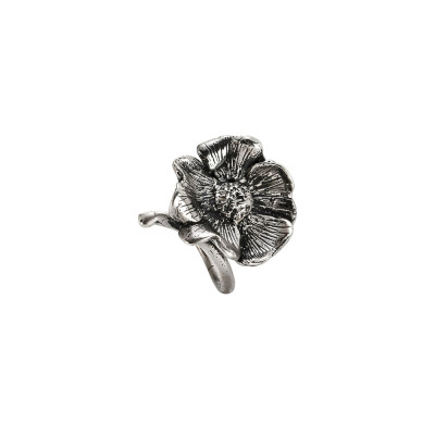 Ring in burnished silver with cherry blossom