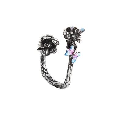 Open ring in burnished silver with cherry blossom and hand-painted butterflies