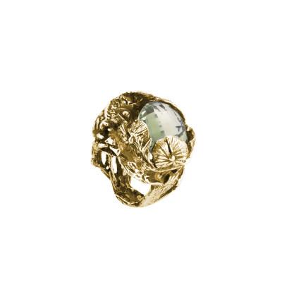 Golden silver carp ring with prasiolite