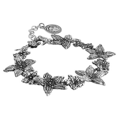 Bracelet in burnished silver with large flowers of lilium