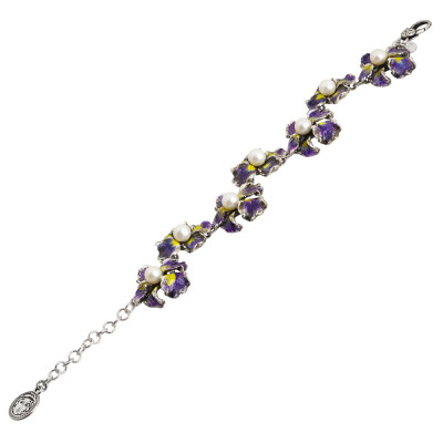 Bracelet in burnished silver with iris flowers painted in purple and natural pearls