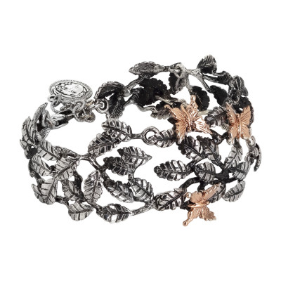 Semi-rigid bracelet in burnished silver with decoration of olive leaves and pink butterflies