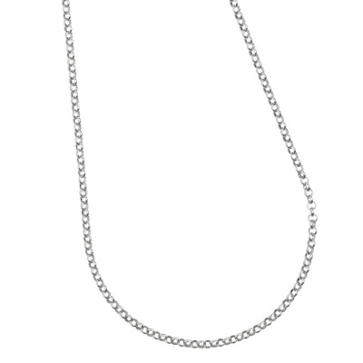 Silver necklace for sliding charms.