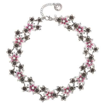 Burnished silver necklace decorated with painted lilium flowers and natural pearls