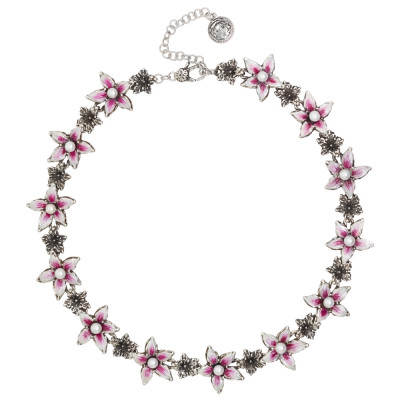 Burnished silver necklace with painted lilium flowers and natural pearls