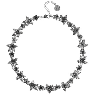 Burnished silver necklace with lilium flowers